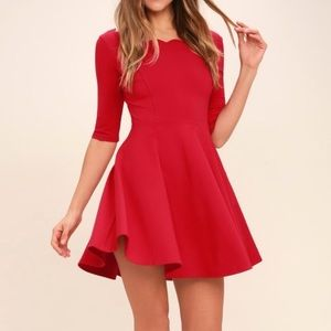 Lulu's Scalloped Red Dress
